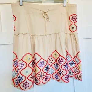 Free People Cream Embroidered A-Line Skirt